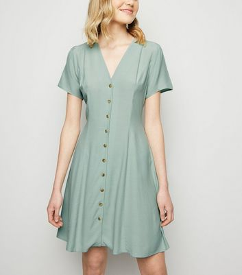 Mint Green Button Up Tea Dress