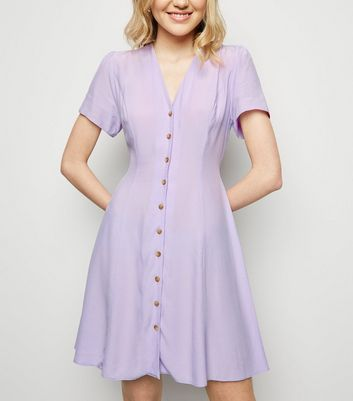 Lilac Button Up Tea Dress