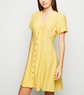 Pale Yellow Button Up Tea Dress