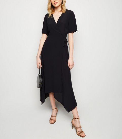 ... Black Hanky Hem Wrap Midi Dress ... 31e082e96