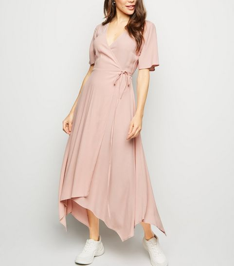 ... Pale Pink Hanky Hem Wrap Midi Dress ... e4558d2fb3ec