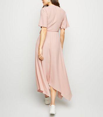 Pale Pink Hanky Hem Wrap Midi Dress New Look