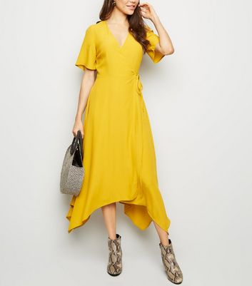 Mustard Hanky Hem Wrap Midi Dress