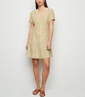 White Ditsy Floral Button Front Tea Dress