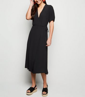 Black Tie Side Midi Wrap Dress