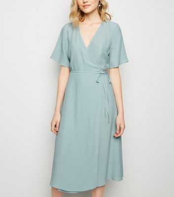 Mint Green Tie Side Midi Wrap Dress