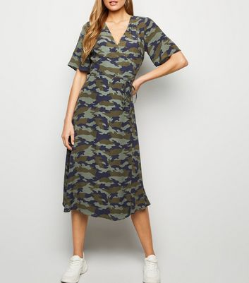 Green Camo Wrap Tie Midi Dress