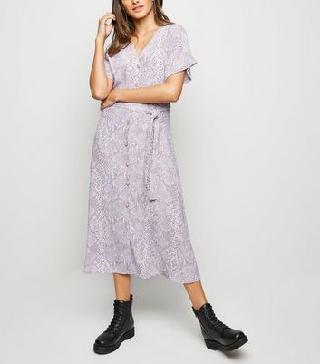 Lilac Snake Print Button Front Midi Dress