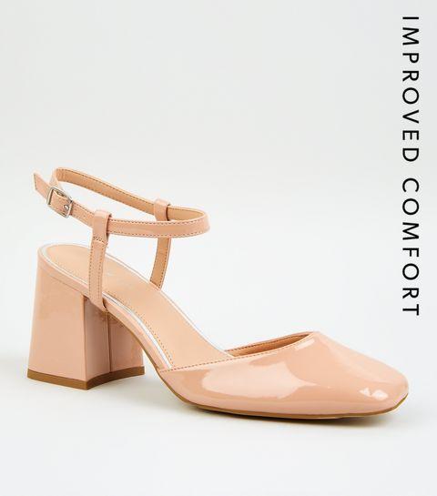5cc2e5b3d46660 Black Cream. Nude Patent Leather-Look Block Heels · Nude Patent  Leather-Look Block Heels ...