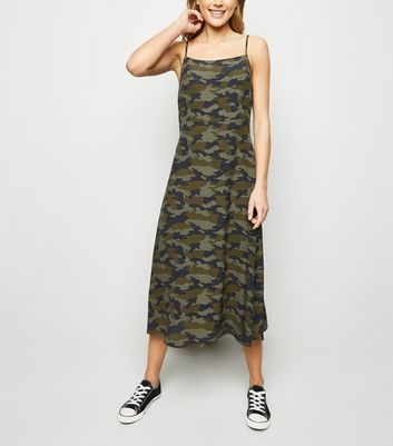 Green Camo Slip Dress