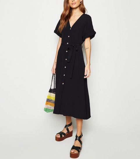 4b7c9e0c36b ... Black Button Front Tie Waist Midi Dress ...