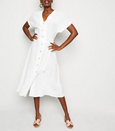 a0411f5c030 ... White Button Up Tie Waist Midi Dress ...