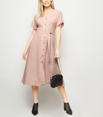 Pink Button Up Tie Waist Midi Dress