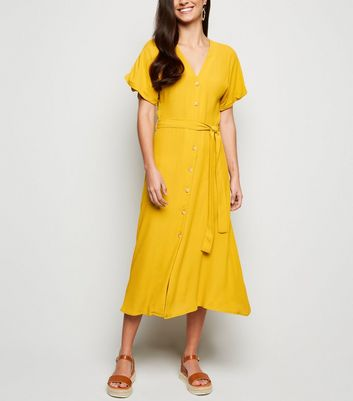 Mustard Button Front Tie Waist Midi Dress
