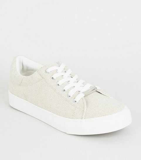 3cef272d24c9 ... Off White Woven Canvas Lace-up Trainers ...
