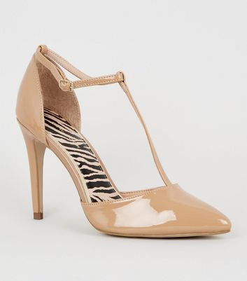 Camel Patent T-Bar Pointed Court Shoes