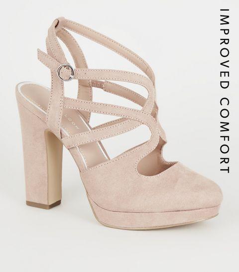 efbe619f676 ... Nude Suedette Strappy Platform Block Heels ...