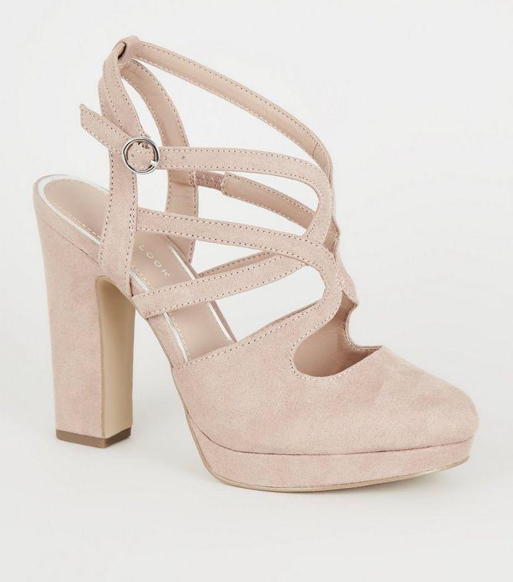 28ad48f4385 Nude Suedette Strappy Platform Block Heels