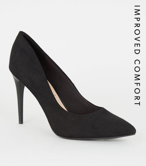 f58fdd2e0e8e ... Black Leopard Print Insole Pointed Court Shoes ...