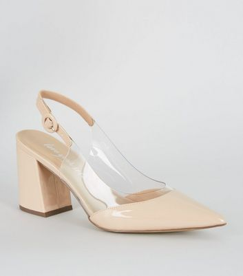 Nude Patent Clear Panel Block Courts