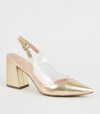 Chaussures dorées pointues à talons évasés et empiècements transparents Ajouter à la Wishlist Supprimer de la Wishlist