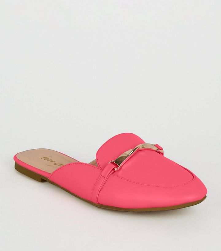 670006de546ce Bright Pink Neon Loafer Mules | New Look