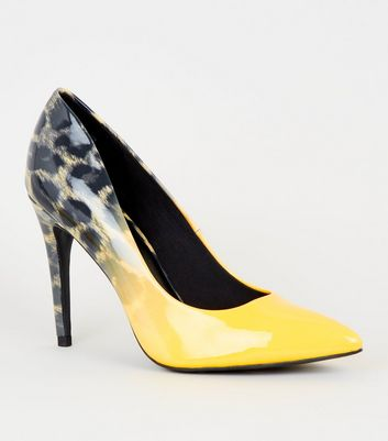 Yellow Leopard Print Ombré Heel Court Shoes