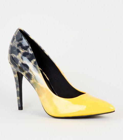 ... Yellow Leopard Print Obmré Heel Court Shoes ... 29e508c142c2