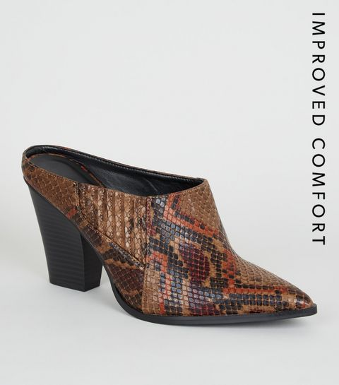 42c60c53606 ... Brown Faux Snake Pointed Western Mules ...