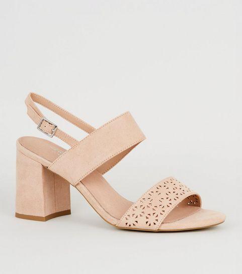 7ae9ba5a4b564a ... Pink Comfort Suedette Geometric Strap Sandals ...