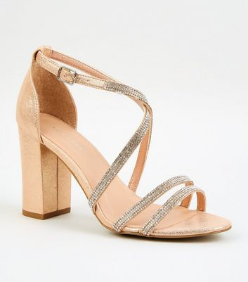 Rose Gold Diamanté Strappy Block Heels