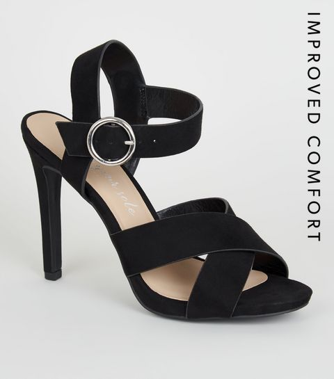 310bbbc3907d ... Black Suedette Strappy Stiletto Heels ...
