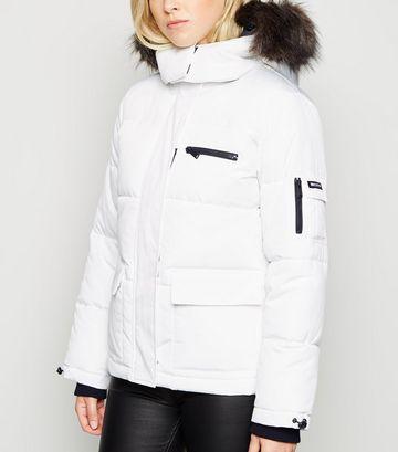 White Faux Fur Trim Short Puffer Jacket