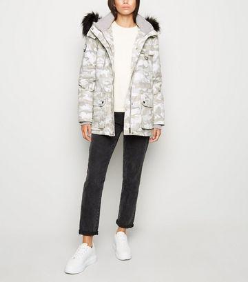 Light Grey Camo Faux Fur Trim Parka Coat