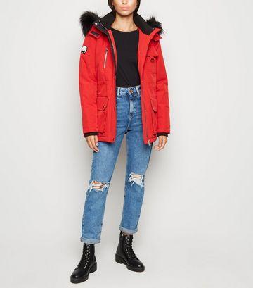 Red Faux Fur Parka Coat