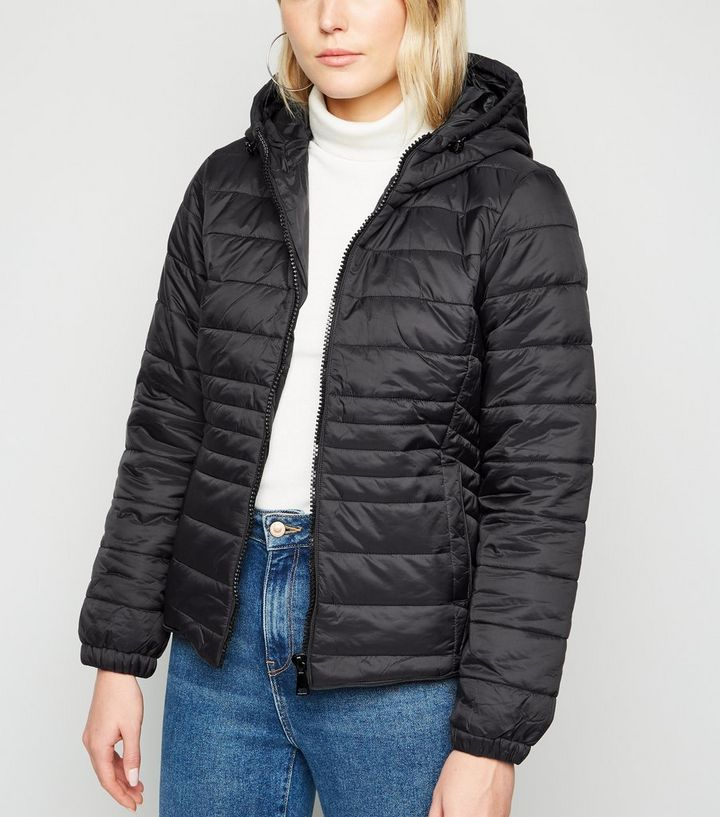 55b8fbe159e6 Black Hooded Puffer Jacket | New Look