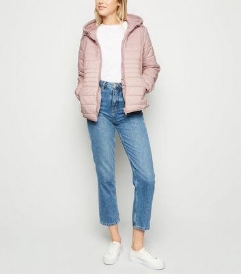 Pale Pink Hooded Puffer Jacket