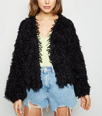 Black Eyelash Knit Cardigan