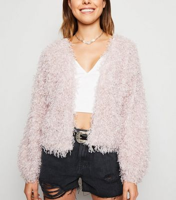 Pale Pink Fluffy Knit Cardigan