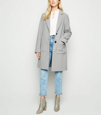 Pale Grey Longline Revere Collared Coat