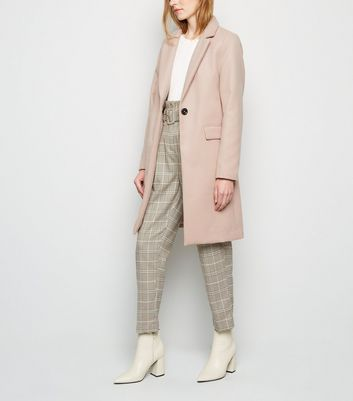 Pink Longline Revere Collared Coat