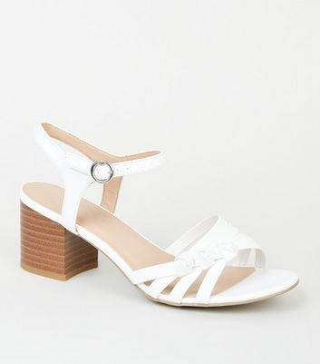 Wide Fit White Knot Strap Sandals