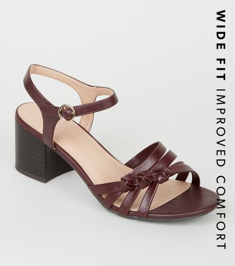 d131b442ccf ... Wide Fit Dark Red Knot Strap Sandals ...