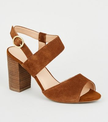Wide Fit Tan Suede Strap Block Heels