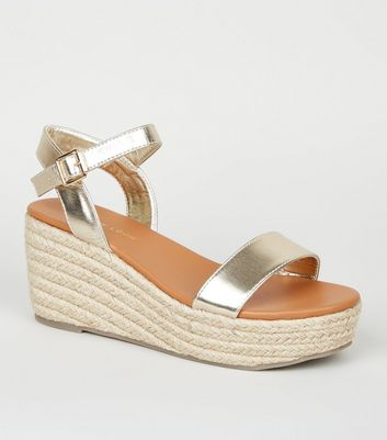 Wide Fit Gold Leather-Look Espadrille Sandals