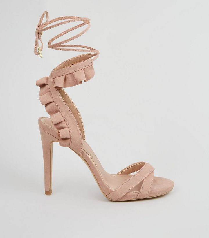 d804917f043 Nude Suedette Frill Ankle Tie Stiletto Heels Add to Saved Items Remove from  Saved Items