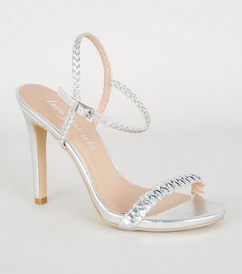 85767a40774d ... Silver Metallic Plait Strap Heels ...