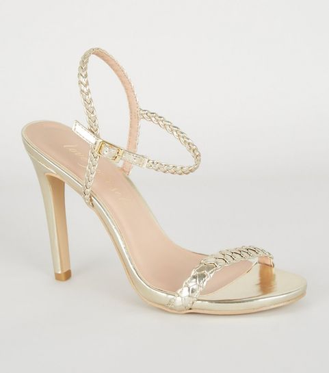 0acc69f9d ... Gold Metallic Plait Strap Heels ...