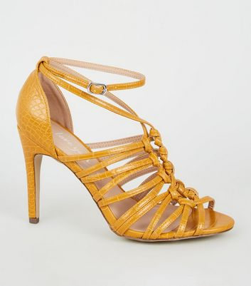 Yellow Faux Croc Knot Strap Heels