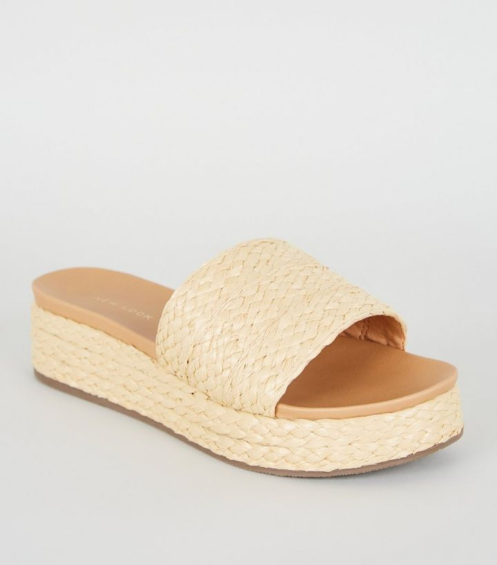 f328214f08756 Cream Woven Flatform Sliders   New Look